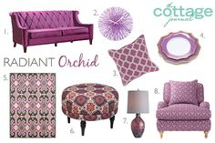 Infuse the Pantone Color of the Year into your cottage! We love these Radiant Orchid style ideas.
