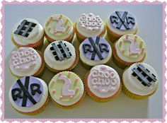 Cupcake Gallery - Kristen's Cake Creations - Girly choo choo cupcakes with fondant toppers