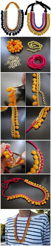 手工制作 绒球金属项链教程(图)这是一条不同于以往纤巧细腻感觉的项链,它色彩艳丽,材质搭配特别,让人惊喜不断。而且DIY的方法也非常简单,值得你一试哦!如果你想尝试不同风格的造型,这条项链你绝对不能错过!(哇噻网)