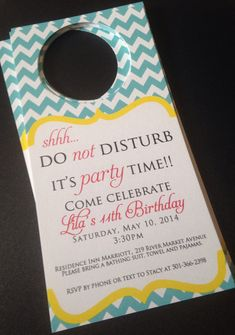 Items similar to Birthday Hotel Door Hangers - Hotel Door Hangers - Birthday Invitations - Kids Birthday on Etsy - Flight, Travel Destinations and Travel Ideas Hotel Sleepover Party, Hotel Party, Slumber Parties, Birthday Parties, Birthday Celebration, Custom Door Hangers, Hotels For Kids, Hotel Door, Birthday Invitations Kids