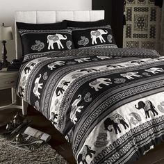ELEPHANT ANIMAL PRINT REVERSIBLE QUILT DUVET COVER BEDDING SET WITH PILLOW CASE | eBay