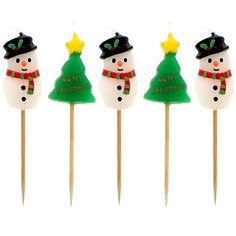 Fine julelys dekorationer til juledekorationer og borddekorationer til juleaften og julefrokost: Merry Christmas Snemand og Træ Lys på Pinde - Pakke med 5