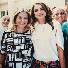 11 May 2016 - Queen Rania, lunch hosted by Khawla Al Armouti, in support of the Jordan River Foundation's child program - blouse by Antonio Berardi