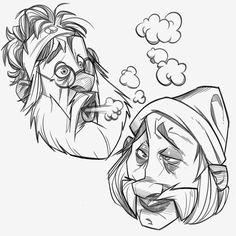 Cheech and Chong for Sketch Dailies Character Sketches, Character Design Animation, Character Design References, Character Drawing, Character Illustration, Illustration Art, Cartoon Sketches, Cartoon Styles, Cartoon Art