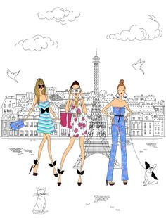 Dri, Wal e Catia kkkkkkkkkkk Illustration Parisienne, Paris Illustration, Illustration Sketches, Watercolor Illustration, Illustrations, French Illustration, Tour Eiffel, My Little Paris, Me And My Dog
