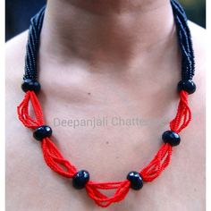 Mirth( black and red bead necklace). Buy online from www.craftsvilla.com #craftsvilla #jewellery #polki #pearl #earrings #india #buyonlinejewellery