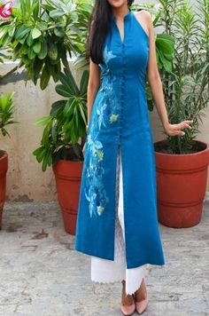 Buy Sky Blue Pure Linen Patch Work Kurti Online in India Plain Kurti Designs, Simple Kurti Designs, Kurta Designs Women, Latest Kurti Designs, Indian Fashion Dresses, Dress Indian Style, Indian Designer Outfits, Dress Neck Designs, Designs For Dresses