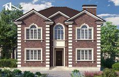 Проект двухэтажного дома 160 м2 10х12 метров - Новация 148 Brick Design, Facade Design, House Design, Front Elevation Designs, Monster House, House Layouts, Plans, Home Fashion, Interior Design Living Room