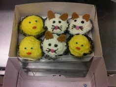 Super cute rabbit and chick #icecream #cupcakes Easter