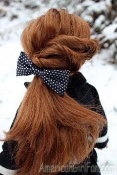 Triple Twist Ponytail. I know this is a doll, but the hair style is cute enough for a real person.