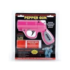 Mace Gun  This pink mace gun is a fully-loaded self-defense tool holding a canister of pepper spray. Bright and girly as it may be, it's no match for predators—emitting a powerful stream of OC formula up to 20 ft in length. The trigger also activates an LED light that'll ensure you hit your target.