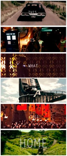 [gifset] This is what we call a home. Supernatural, Doctor Who, Sherlock, Avengers, Harry Potter, Lord of the Rings