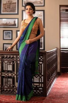 Beatitude offers beautiful premium cotton sarees online for sale. Buy premium handwoven cotton and khadi sarees from our shop online. Cotton Sarees Online, Handloom Saree, Saree Collection, Dark Blue, Sari, Glamour, Clothes For Women, Elegant, Womens Fashion
