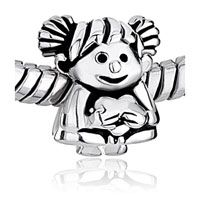 European Beads - girl baby holding heart 925 sterling silver style pandora beads Image.
