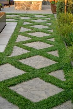 Landscaping and Yard Ideas: Beautiful Pavers Evenly Spaced with grass growing between them, makes a graphic statement.