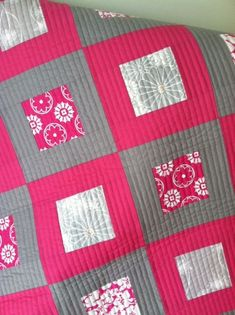Loving the pink and gray with the straight line quilting