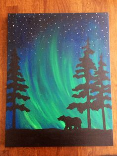 northern lights bear silhouette painting