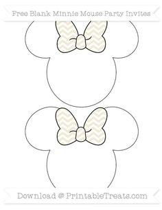Eggshell Chevron  Blank Minnie Mouse Party Invites