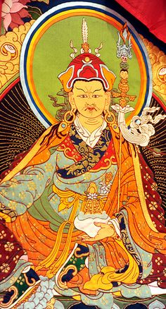 Tibetan Thangka of Padmasambhava, holding a bowl of nectar, vajra staff, halo, vulture feather in lotus hat, traditional garments, boots, gold & turquoise earrings, saint founder of Tibetan Buddhism, South Bay Vajrayana, Silicon Valley, California, USA