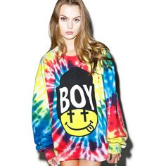 BOY London United Boy Acid Beanie Top (€56) ❤ liked on Polyvore featuring tops, relaxed fit tops, tie dyed tops, tie dye tops, oversized tops and tie-dye tops