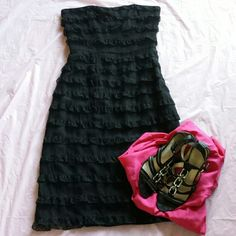 "Betsey  Johnson  Strapless  Black  Dress Black Lace Ruffle Semi-sheer overlay With  Black  Lining. Side Zip hook. I  Don't Have The Original  Belt, But Will Include  One. Armpit-armpit 16 "" Waist  13.5 "" Length 32 "" Betsey Johnson Dresses Strapless"