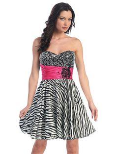 Zebra Printed Short Prom Dress