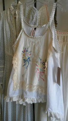 Shabby linen, upcycled antique top #french #shabby #fashion Ava Marie  avacarmichael.com