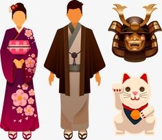 Cartoon de vetor material de japão kimono Samurai Gato, Samurai, Kimono, SamuraiPNG e Vector