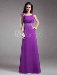 8874491b82 Chiffon Square Floor Length A-line Embroidered Prom Dress - WooVow Long  Evening Gowns