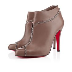 Bottines Christian Louboutin COLIZIP 100mme Taupe/Argent
