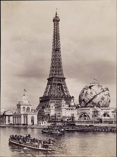 ca. 1900, the Eiffel Tower and the Celestial Globe at the Universal Exhibition in Paris, France