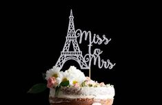 """Eiffel Tower Glitter Cake Topper, Miss to Mrs, Paris Theme, Parisian Party by FlyingOwlStudio on Etsy This intricately designed Eiffel Tower Cake Topper is perfect for your Paris themed Engagement, Bridal, or Wedding Shower party! It's a classy and easy way to take your cake to a whole new level of gorgeous! Prefer your own custom text? Click on """"Request a Custom Order"""" and we'll be happy to help! Available in 5 different metallic glitter colours - Gold, Silver, Rose Gold, Copper, or Black…"""