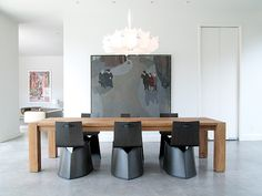 dining table idea -  chandelier - unique chairs - Museum District Modern home, Barbara Hill