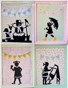 I made these seasonal silhouettes to deck out my daughter's room! http://www.thebluerobincottage.blogspot.com