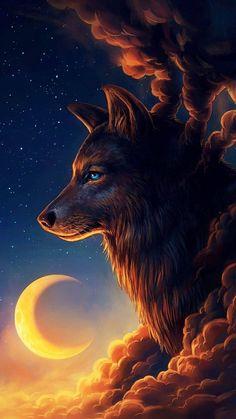 ✔ Anime Wolf Wallpaper The Moon Anime Wolf, Sky Anime, Wolf Spirit, Spirit Animal, Fantasy Wolf, Fantasy Art, Fantasy Dragon, Wolf Wallpaper, Wolf Pictures