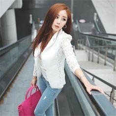 Hot Sale Spring Lace Blazer Suit Women One Button Lady OL Coat Crochet Jacket Outwear Blazer Feminino ZT1 //Price: $14.74 & FREE Shipping // The Buddy Shoppe// https://thebuddyshoppe.com/shop/apparel-accessories/hot-sale-spring-lace-blazer-suit-women-one-button-lady-ol-coat-crochet-jacket-outwear-blazer-feminino-zt1/ //    #onlineshopping