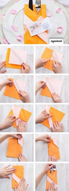 Eine einfache Anleitung wie man eine Bestecktasche falten kann - servietten falten tischdeko esszimmer