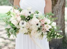 Anemone and peony bridal bouquet | Stephanie Rawcliffe Photography | see more on: http://burnettsboards.com/2015/11/blush-green-outdoor-bridal-session/