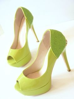Hand painted heels - Lemon and Lime Twist green court shoes- UK 6