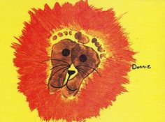 Footprint Lion I have to put this in owens lifebook with his fat little feet!!