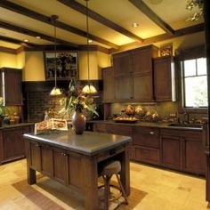The cabinets, the beams, the island - it's perfect.