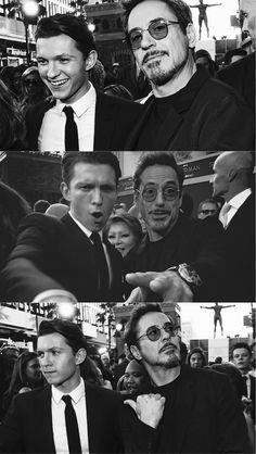 Robert Downey jr and Tom Holland - Marvel Captain Marvel, Marvel Avengers, Marvel Comics, Marvel Actors, Marvel Memes, Marvel Characters, Captain America, Avengers Texts, Avengers Poster