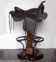 Leather Western Saddle Bar stool BarStool w/ Wood Base Iron Footrest New FrShp