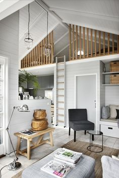 home decor for small spaces I like the rails on this loft Icelandic Curiosity Continues More Spaces!~my head space - home decorating, interior design amp; House Design, Home Living Room, House, Small Spaces, Home, House Interior, Cottage Interiors, Small Cottage Interiors, Tiny House Living Room