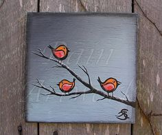 Original Primitive Folk Art Painting Celosia Orange Birds on Branches with Paloma Gray Background