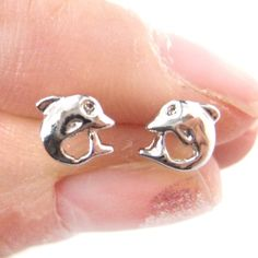 Small Dolphin Fish Sea Animal Stud Earrings in Silver from Dotoly Plus $4 #dolphins #animals #fish #jewelry #earrings