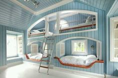 A Beach house with built in bunk beds would be so sweet and the baby blue colour…