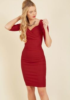 Lady Love Song Sheath Dress in Ruby in 1X - Sleeveless Bodycon Knee Length