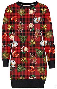 e379751748 Frauen Christmas Reindeer Printed lange Sleeve weihnachten Sweatshirt  Pullover Kleid 36-50 (40-