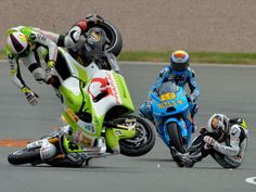 WSBK and MotoGP. All riders will suffer several occasions of multiple bone breaks during their career. 160kg's 200mph.